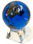 6 Inch Aqua Crystal World Globe