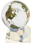 6 Inch Clear Crystal World Globe