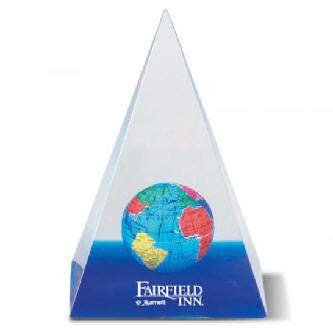 Acrylic Globe Pyramid Paperweight - Promotional Gift Item