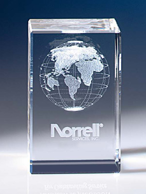 3-D World Cube Award - Business Gift - Corporate Award