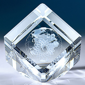 3-D Crystal World Cube - Slanted - Corporate Gift
