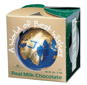 Molded Chocolate Globe - Chocolate Thank You Gift