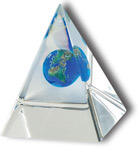 Lucite Pyramids w/ Suspended Earth