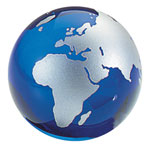 Glass World Globe Paperweight - Silver Continents