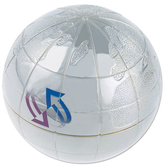 Silver Globe Paperweight - Promotional Gift