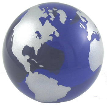 The world globe paperweight features stunningly beautiful blue glass oceans