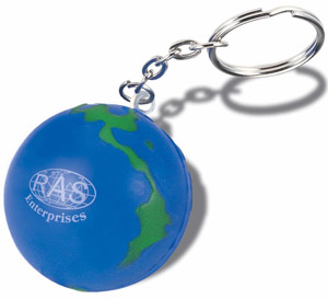 Stress Relief Globe Key Chain - Promotional Gift
