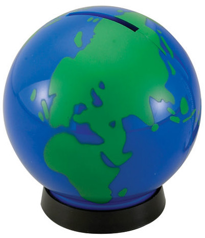 Blue Green World Globe Bank
