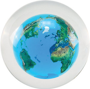 Crystal Ball w/ Floating Earth Series - World Globe Paperweight